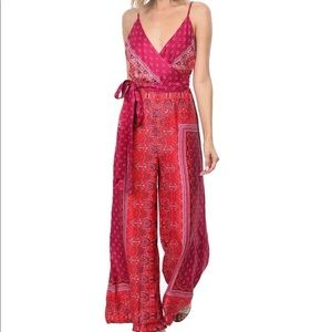 Hot pink boho print jumpsuit, Free People size 6.
